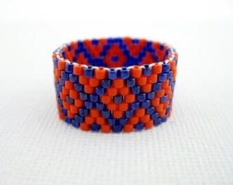 Peyote Ring  / Beaded Ring in Orange and Blue /  Seed Bead Ring / Delica Ring / Beadwoven Ring / Size 8 Ring / Geometric Ring / Custom Ring