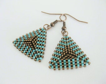 Peyote Earrings / Peyote Triangle Earrings in Turquoise and Brown / Beaded Earrings / Beadwoven Earrings / Seed Bead Earrings /