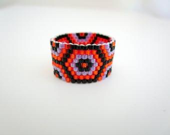 Peyote Ring  /  Beaded Ring in Orange, Black and Violet / Seed Bead Ring / Delica Ring / Beadwork Ring / Beadwoven Ring / Handmade Ring