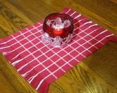 Handwoven Red and White Table Topper Checked Table Mat Woven Red Candle Mat Red Woven Coffee Table Scarf Plaid Table Mat