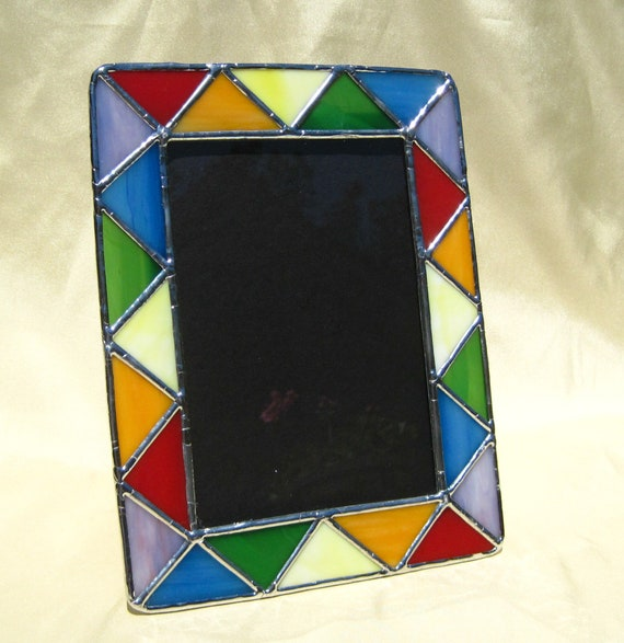 5 x 7 Rainbow Stained Glass Frame Triangles Stained Glass Frame ...