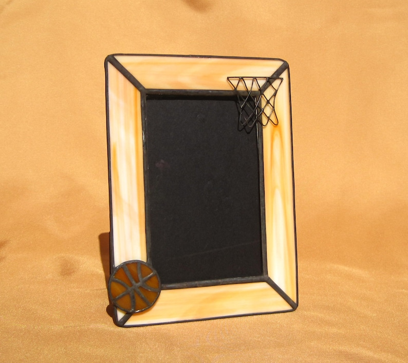 e40f4bc03ff 4x6 Basketball Stained Glass Picture Frame for Boys or Girls