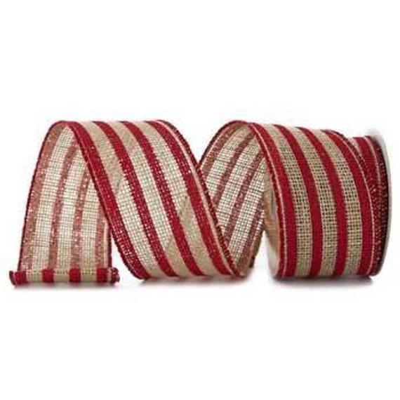 Woodland Christmas Sweater Pattern Stripe Canvas Burlap Christmas Ribbon 1.5In