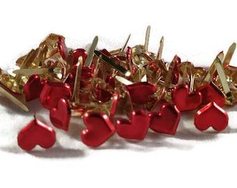 Metallic Red Heart Brads Sweetheart Heart Brads Bulk 50 Valentine Brads Red Paper Fasteners