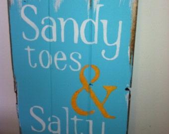 """Sandy Toes & Salty Kisses Beach Sign, Beach Decor, Beach House, Beach Theme, Coastal Decor, Hand Painted 10 1/2""""w x 16""""h wood sign"""