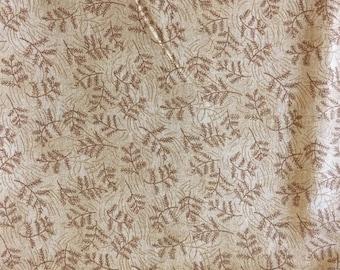 Beige Fern Leaf Cotton Fabric 2 yds