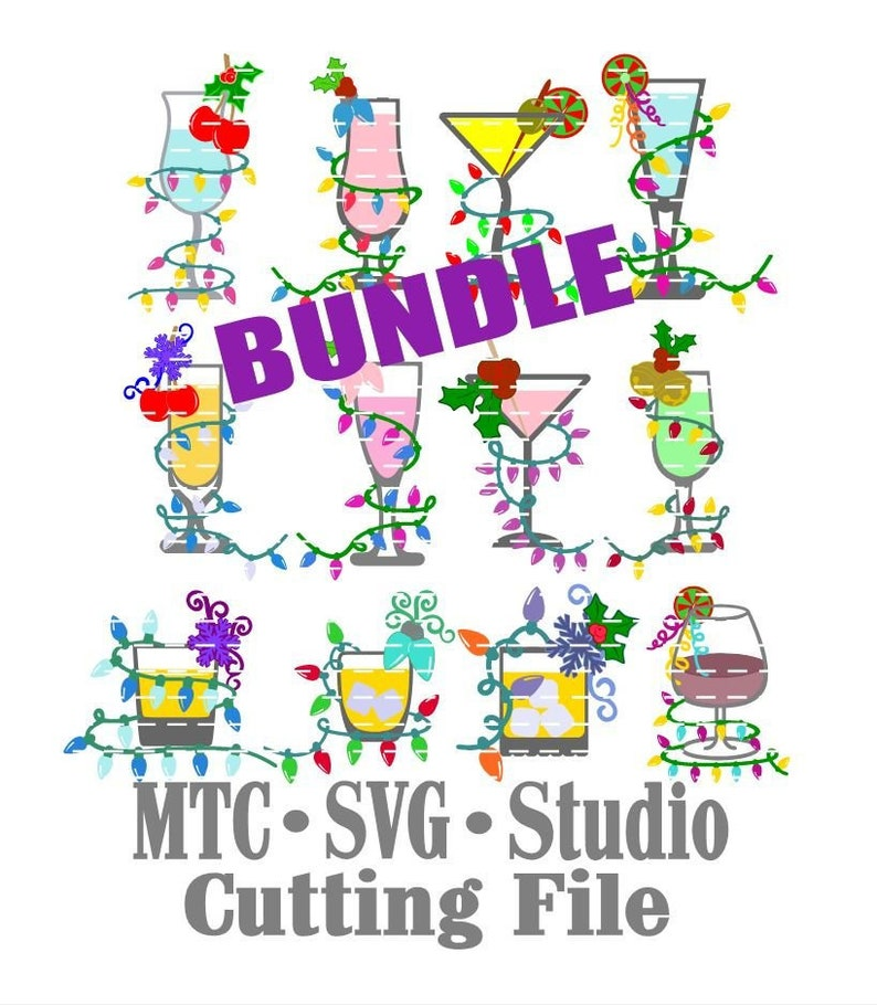 SVG Cut File Christmas Cheer Drink BuNDLE with multiple   Etsy