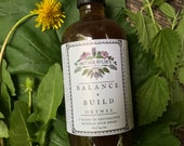 Balance + Build Oxymel spring minerals nourishing herbs herbal vinegar tonic nettle burdock dandelion Mother Hylde's Herbal 8oz