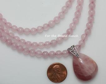 Rose Quartz Three Strand Necklace
