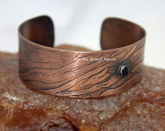 Etched Animal Print Copper Cuff with Black Onyx