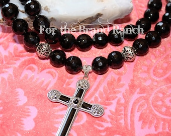 Black Onyx and Marquisite Cross Necklace - 2 strand
