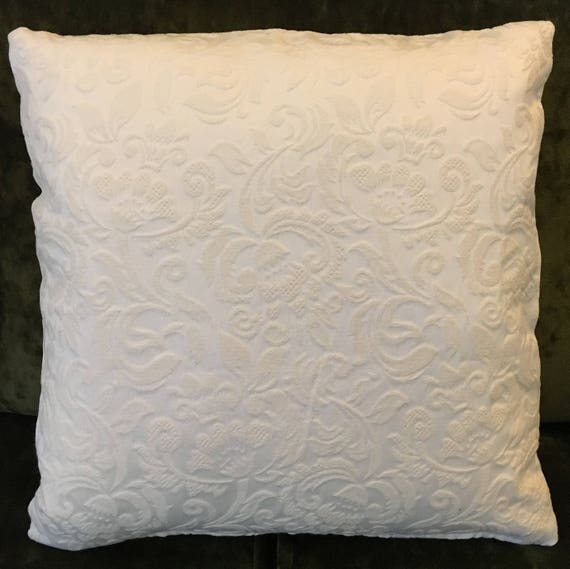 Square Euro Matelasse Throw Pillow Cover White Ivory Embossed Etsy