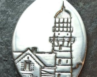 Lighthouse - Cape Elizabeth -  Maine, - Pewter Pendant - Seaside, Ocean Jewelry