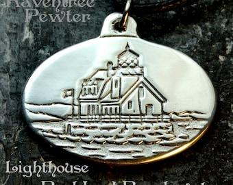 Lighthouse - Rockland - Maine - Pewter Pendant - Seaside, Ocean Jewelry