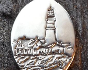 Lighthouse - Portland Headlight - Portland, Maine, - Pewter Pendant - Seaside, Ocean Jewelry