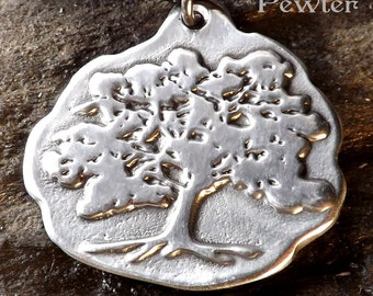 Oak Tree - Pewter Pendant - Nature Jewelry, Forest, Tree of Life Necklace, Jewelry - Poured with care by hand in America
