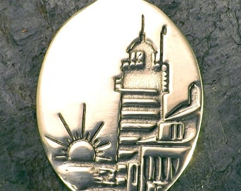 Lighthouse - West Quoddy - Lubec, Maine, Easternmost Point in the U.S. - Pewter Pendant - Seaside, Ocean Jewelry