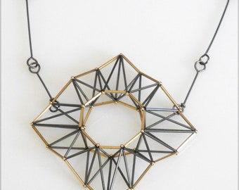 diamond shaped pendant with gold