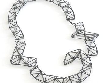 silver multi shape necklace