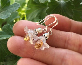 Sterling Silver and Genuine Citrine Flower Earrings, Mother's Day Grandmother Daughter Wife Aunt Gift, November Jewel Teardrop Birthstone