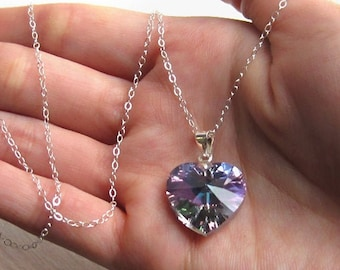 Sterling Silver and Swarovski Crystal Heart Necklace, Light Vitrail Rainbow Purple Love Pendant Gift for Valentine Day Girl Friend Wife Mom