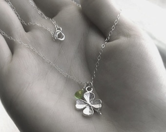 Sterling Silver Lucky Clover and Peridot Necklace, Green St Patrick's Day Shamrock August Birthstone Facted Teardrop Gemstone Jewel Gift