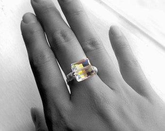 Sterling Silver and Square Swarovski Crystal Ring, Wire Wrapped Aurora Borealis Ladder Rainbow Jewel, Clear Cocktail Statement Gift