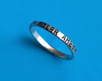 Thin Personalized Sterling Silver Handstamped Stacking Midi Pinky Ring, Wedding Band Family Friendship Gift Custom Name Word Date or Phrase