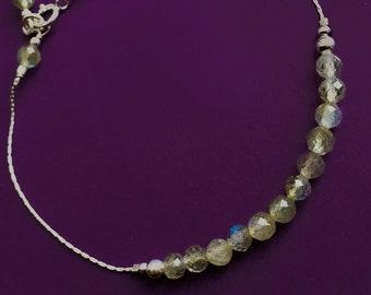 Faceted Labradorite and Sterling Silver Northern Lights Thread Bracelet, Friendship Energy Blue Flash Grey Gemstone Bead Layering Bracelet