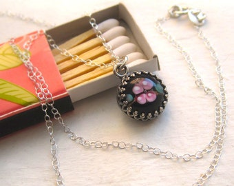 Lampwork Glass Flower and Sterling Silver Necklace, Black Pink Bezel Crown Rose Dome Cabochon, Romantic Love Princess Pendant Gift for Her