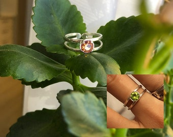 Adjustable COLOR CHANGE Diaspore Sterling Silver Ring, Nanosital CZ Gemstone Brown Pink Peach Green Thumb Chameleon Double Band Gift for Her