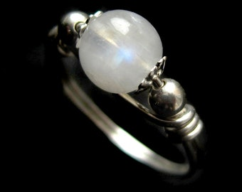 Intricate Sterling Silver Tiny Moonstone Ring Wire Wrapped Scroll Band Detailed Small Blue Flash Gemstone Midi Pinky Thin Gift for Sis Girl