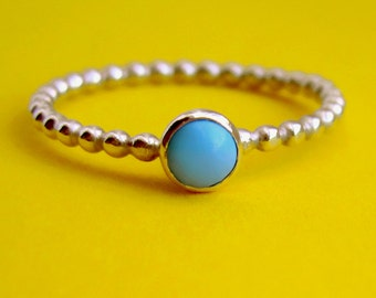 Sterling Silver Tiny Genuine Turquoise Happy Dots Ring, Small Minimalist Round December Birthstone Cabochon Bezel-set Midi Pinky Toe Ring