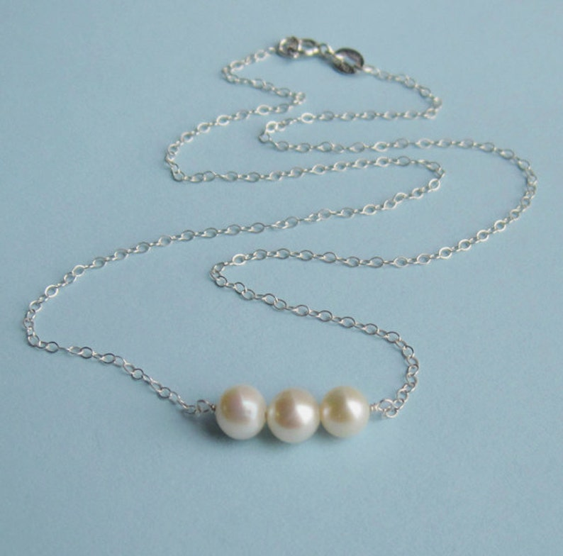 Sterling Silver and Ivory Freshwater Pearl Triplet Necklace image 0