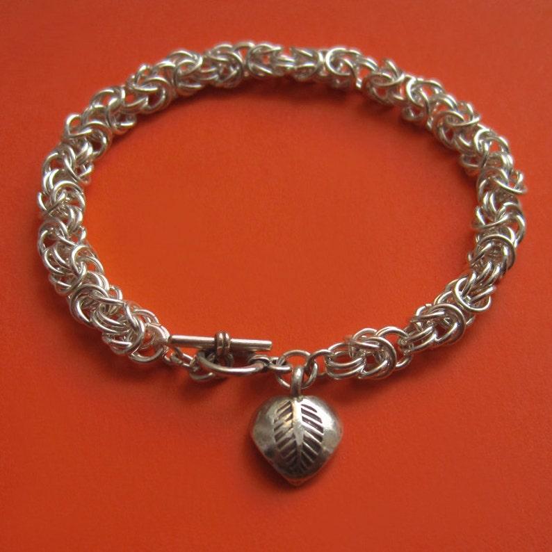 Sterling Silver Byzantine Bracelet With Hill Tribe Heart Leaf image 0