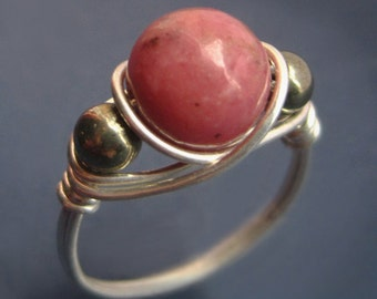 Sterling Silver Rhodonite and Pyrite Ring, Wire Wrapped Round Pink Semiprecious Natural Stone, Modern Right Hand Thumb Statement Band