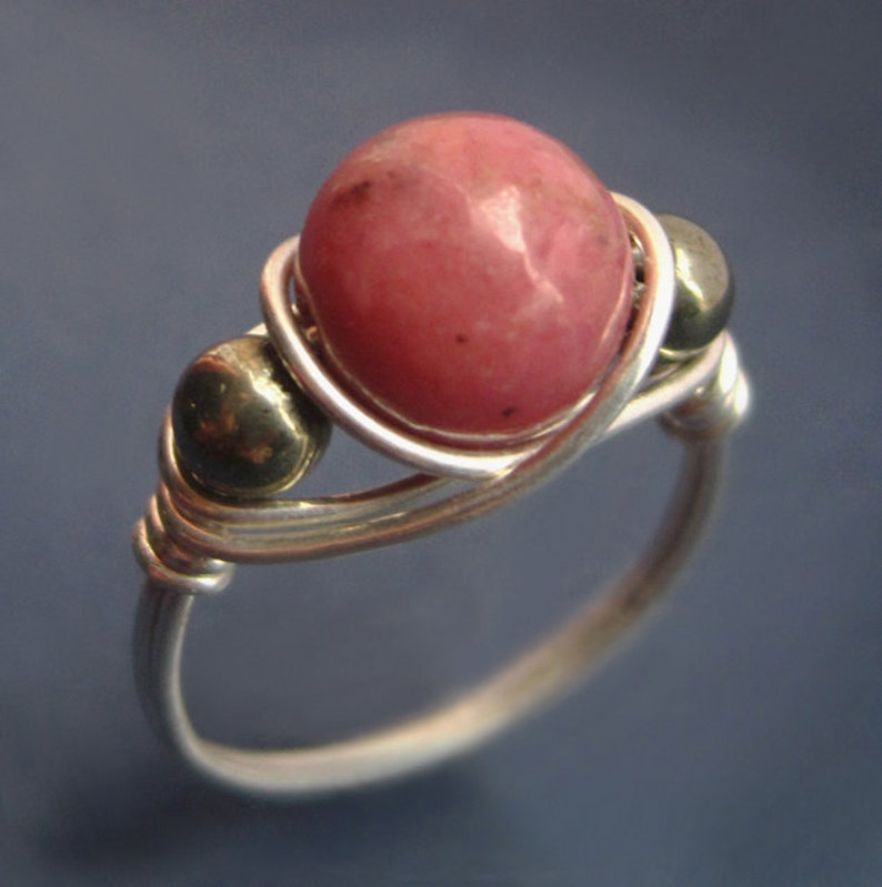 Sterling Silver Wire Wrapped Rhodonite and Pyrite Ring Round image 0