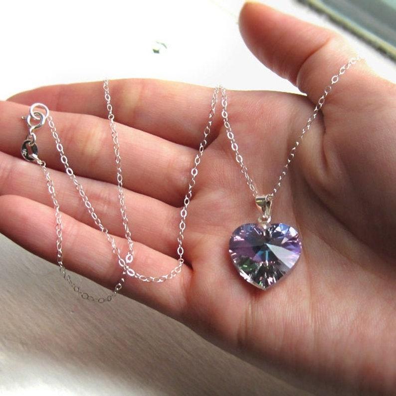 Sterling Silver and Swarovski Crystal Heart Necklace Light image 0