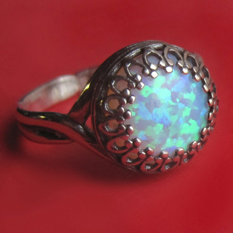 Adjustable Lab Opal Sterling Silver Crown Ring Faerie Eye image 0