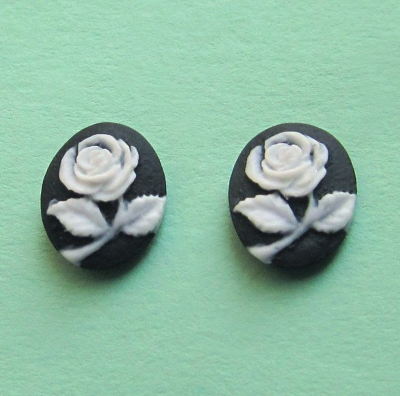 Black and White Rose Flower Cameo Sterling Silver Studs Small image 0