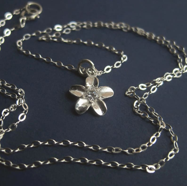 Tiny Sterling Silver Flower CZ Necklace Small Dainty Cubic image 0