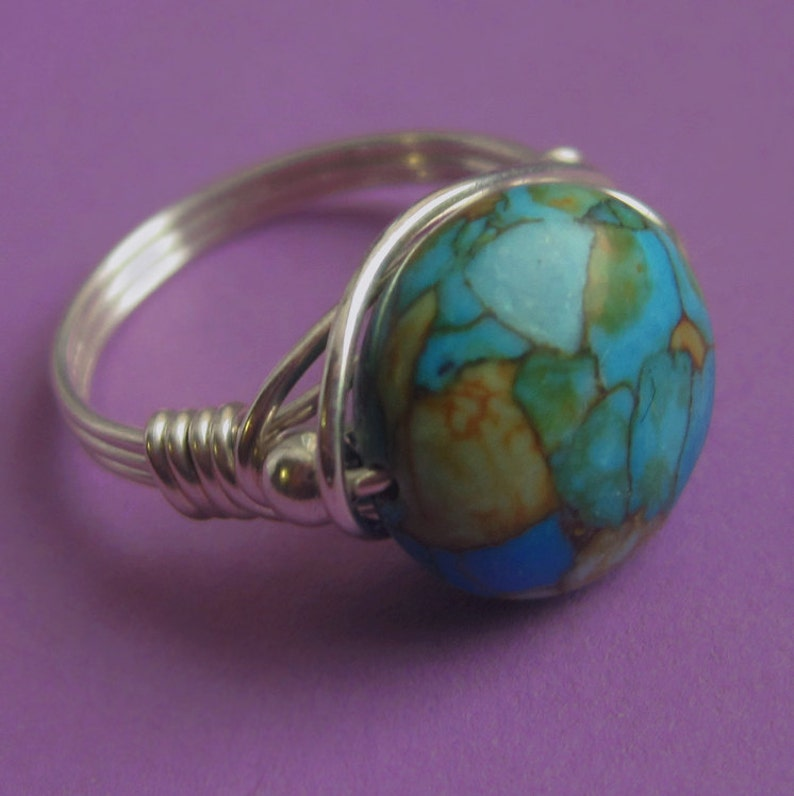 Sterling Silver Wire Wrapped Mosaic Turquoise Ring Multicolor image 0