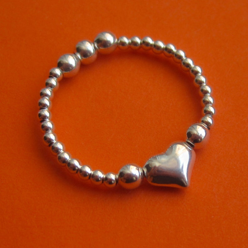 Reversible Sterling Silver Bead Heart Ring Two-in-One Band image 0