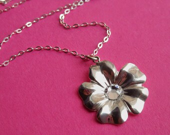 Sterling Silver Flower Necklace with Swarovski Crystal, Large Lightweight Flat Bloom Pendant, Dainty Choker for Mom Sister Girl Teen BFF