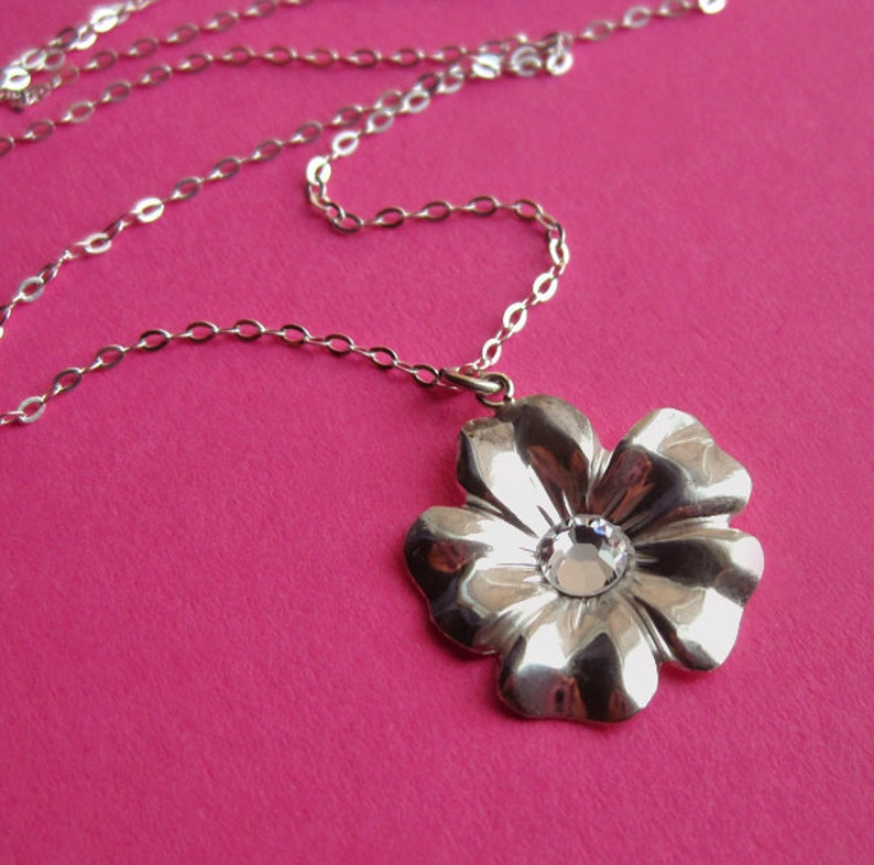 Sterling Silver Flower Necklace with Swarovski Crystal image 0