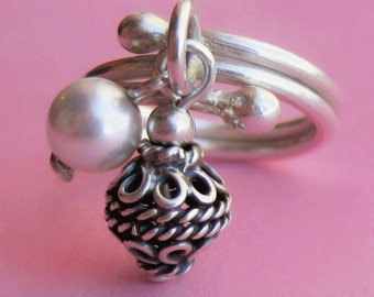 Adjustable Hill Tribe Silver Charm Ring With Bali Bead and Swarovski Pearl Accent, Thumb Statement Cocktail Right Hand Ring