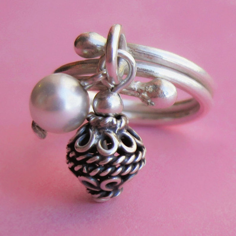Adjustable Hill Tribe Silver Charm Ring With Bali Bead and image 0