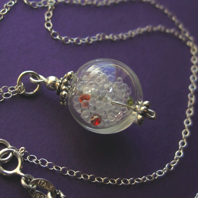 Sterling Silver Glass Globe and Rainbow Cubic Zirconia Bubble image 0