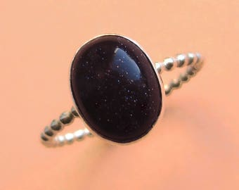 Sterling Silver and Blue Goldstone Galaxy Cabochon Ring, Bezel-Set Oval Gemstone Stacking Band, Gift for Graduation Astronomy Lover Wife Sis