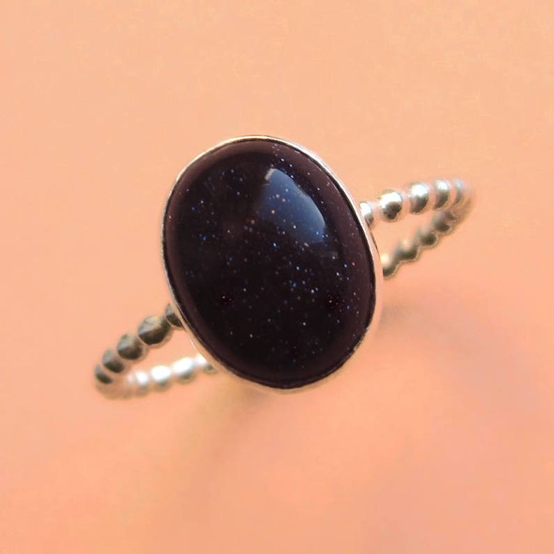 Sterling Silver and Blue Goldstone Galaxy Cabochon Ring image 0